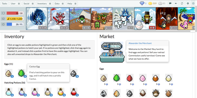 Habitica Market Sample Screen